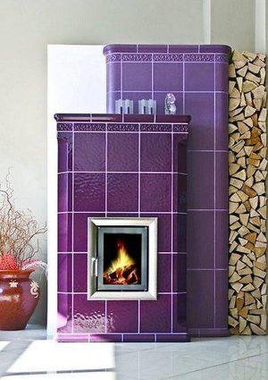 Kominek kaflowy fioletowy z wkładem Brunner