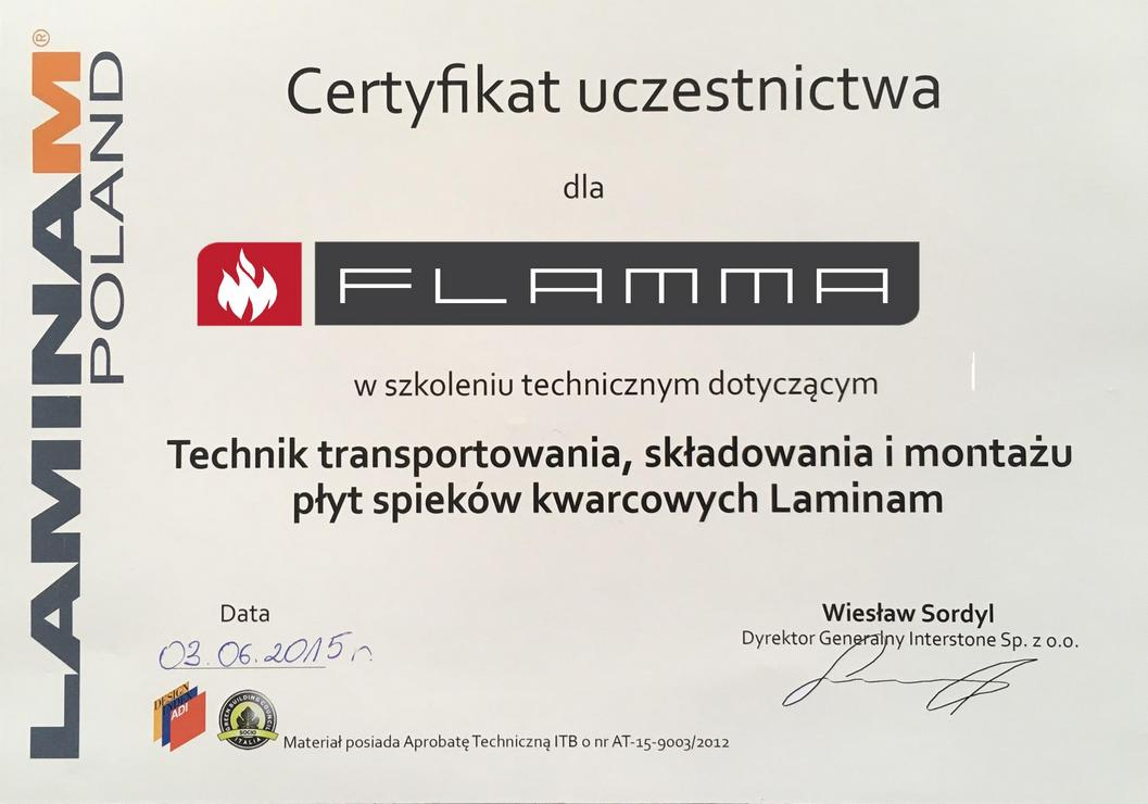Certyfikat spieki Laminam